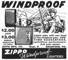 Vintage advertisement for Zippo products, circa 1941.