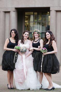 bridesmaids in custom polka dot skirts - photo by Christie Graham Photography http://ruffledblog.com/glam-wedding-with-a-french-bulldog-theme