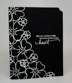 white embossing on black   Papertrey Ink