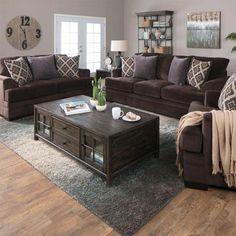 Rustic Living Room Sets Furniture - Home Decor Brown Couch Living Room, Living Room Paint, Living Room Sets, Home Living Room, Living Room Designs, Brown Couch Decor, Dark Brown Couch, Brown Living Room Furniture, Bedroom Furniture
