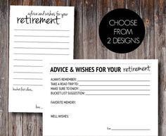 These advice and well wishes cards are perfect for a retirement party or office party! Choose from two sides.   Retirement Party / Retirement Game / Retirement Bucket List