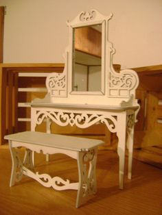 miniature dollhouse furniture woodworking. Miniature Furniture Kit Vanity And Bench Set By Jrgengraving Dollhouse Woodworking