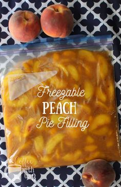 Preserve your delicious peaches to use all winter long with this freezable Peach Pie Filling recipe. Easy to make recipe that freezes well. Fresh Peach Recipes, Fresh Peach Pie, Recipes With Peaches, Fruit Recipes, Dessert Recipes, Recipies, Nutella Recipes, Cake Recipes, Easy Peach Pie