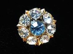 Small rhinestone brooch sparkly brooch blue and by Taingtiques