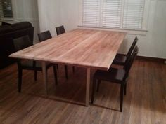 Large dining table out of two #Ikea Numerar countertops, Vika Moliden table legs