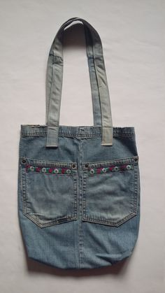 Woman Folk Tote Bag Very practical bag for shopping. So much shopping! Reworked form old jeans. Floral Jeans, Old Jeans, Denim Bag, Womens Tote Bags, Reusable Tote Bags, Backpacks, Shopping, Fashion, Bags
