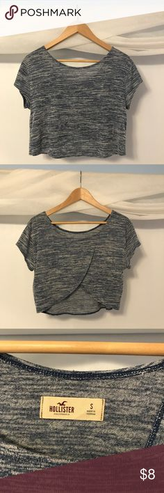 Hollister Crop Top Tee Blue striped crop top tee. Worn lightly, great condition. Slit on back. Hollister Tops Crop Tops