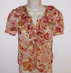 Ralph Lauren Sheer Blouse XS 0 Ruffle Floral Shirt Top Blue Label #RalphLauren #Blouse
