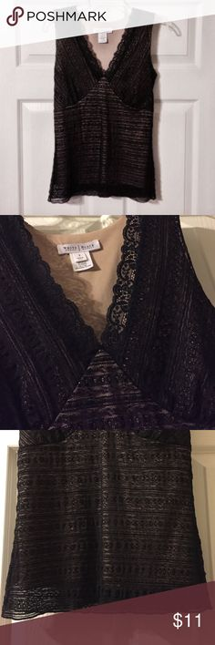 White House Black Market Black Lace Top Very cute and stretchy. Excellent condition--only worn once. White House Black Market Tops Tank Tops