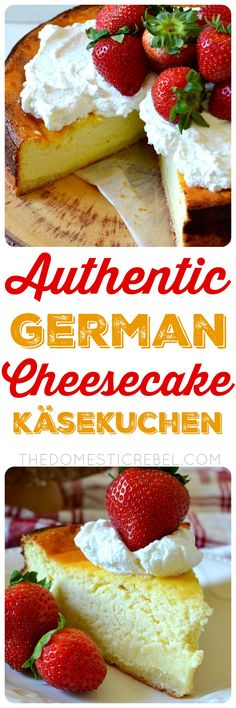 is as authentic as it gets! German Cheesecake (AKA, Käsekuchen) flavored with vanilla and lemon. Light, airy, and fluffy, it's more delicate and less dense than American cheesecake due to a special cheese and fluffier batter. German Cheesecake, American Cheesecake, Cheesecake Recipes, Dessert Recipes, German Desserts, Just Desserts, Delicious Desserts, Yummy Food, German Recipes