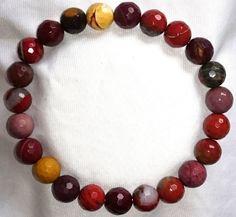 Facettierte Mookait Heilstein Perlen Armband
