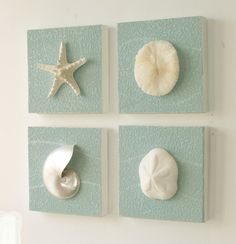 Beach Wall Decor trio of coastal wall decor, cottage chic framed starfish wall art