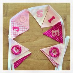 I made this very girly bunting for a baby born in June. Bunting makes an ideal unique new baby gift and can be made in a range of colours and themes. Visit www.made-by-gemma.co.uk #personalised #girl #baby #bunting #pink #handmade Make And Sell, How To Make, Baby Bunting, Baby Born, New Baby Gifts, New Baby Products, June, Girly, Colours