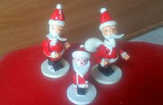 Vintage Bobble Head Santas Adorable by PixieVintageHome on Etsy