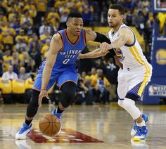 Series shifts back to OKC as Warriors outlast Thunder in Game 5 - Article Photos Westbrook Nba, Russell Westbrook, Sports Basketball, Basketball Court, Serge Ibaka, Sports Highlights, Rugby Men, Basketball