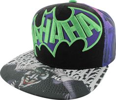 Laugh all the way out of Arkham in this classic Joker Sublimated Print Snapback Hat. Featuring an embroidered Batman logo with printed Joker on the bill, this hat is a must have! Hats For Sale, Hats For Men, Women Hats, Joker Hat, Dc Comics, Joker And Harley, Harley Quinn, Shoe Crafts, Batman Logo