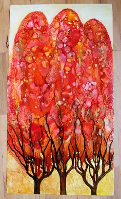 28 x 40 commission alcohol ink trees by Cathy Taylor - so pretty and an interesting process