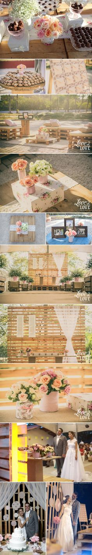 Não adianta, tons pastel e tecidos floridos roubam meu coração!!! Para mim, a combinação perfeita! Por isso fiquei tão encantada com a decoração deste casamento em Fortaleza. Os pallets transformad...