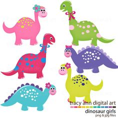 Cute Dinosaur Clip Art Girl Dinosaurs Clipart commercial and personal use                                                                                                                                                                                 Más