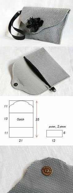How to easy sew a nice small clutch bag? You can see it here… Sewing Tutorials, Sewing Projects, Bag Tutorials, Sewing Hacks, Pochette Diy, Diy Clutch, Clutch Bags, Tote Bag, Clutch Wallet