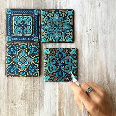 62 Super Ideas For Bathroom Art Diy Craft Projects Dot Art Painting, Mandala Painting, Painting On Tiles, Rock Painting Patterns, Painting Abstract, Acrylic Paintings, Tile Patterns, Diy Craft Projects, Craft Ideas