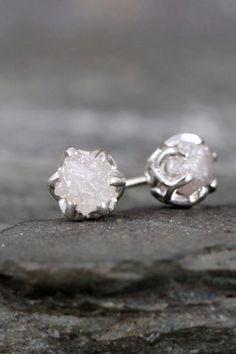 958da0e62 1 Carat Raw Diamond Earrings – Sterling Silver Filigree Inspired – Stud  Earring – April Birthstone