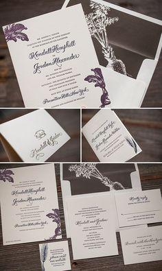 Custom letterpress wedding invitation suite with vintage motifs