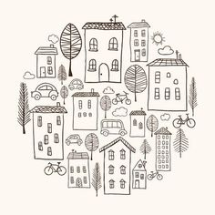 Find Illustration Hand Drawn Houses Circle Shape stock images in HD and millions of other royalty-free stock photos, illustrations and vectors in the Shutterstock collection. Doodle Art Drawing, Line Drawing, House Doodle, Drawings Pinterest, House Illustration, Plant Illustration, Doodle Coloring, House Drawing, Circle Shape