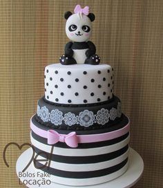 bolo panda fake #bolopanda #panda #festadobanda #decoracaodepanda #festabandarosa Bolo Sofia, Bolo Panda, Panda Party, Fake Cake, Baby Shower, Desserts, Cricut, Food, Panda Themed Party