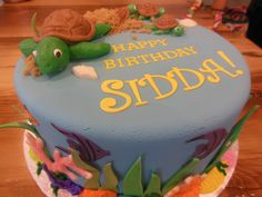 Ocean & Turtle themed birthday cake