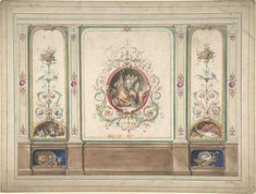 Design for Decorative Panels with Hunting Scenes Inset Vintage Wall Art, Vintage Walls, Ceiling Design, Wall Design, Grisaille, Decorative Panels, Classic Interior, Home And Deco, Architectural Elements