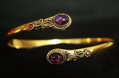 Amethyst Stone Brass armlet with small red stone, Vintage styled Brass armlet,gypsy armlet,tribal,upper arm cuff