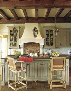 Grey Green - cabinets are Benjamin Moore Nantucket Grey with a custom sienna glaze