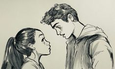 i loved To All The Boys I've Loved Before Couple Sketch, Couple Drawings, Couple Art, Lara Jean, Jenny Han Books, Art Sketches, Art Drawings, Girly Drawings, Foto Transfer