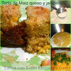 Recetas;Torta de Maiz, queso, jalapenos y miel. Esta rica y nutritiva torta demaízsirve como merienda o paraacompañar cualquier plato. la puedes hacer en moldecitos de muffins y sirve para llevar al trabajo y para los chicos llevarlas al colegio.Ingredientes:1 taza de harina blanca1 1/4 taza de harina demaíz1 lata de crema demaíz4 cucharadas de mantequilla2 …