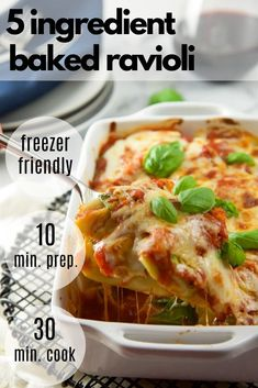You will fall love with this 5 Ingredient Healthy Baked Ravioli Recipe! It is an easy family friendly dinner idea that can be on your table in 30 minutes! It holds well so it is an easy healthy recipe for new moms or to meal prep for the week! Healthy Gluten Free Recipes, Healthy Pasta Recipes, Healthy Pastas, Easy Chicken Recipes, Clean Eating Recipes, Appetizer Recipes, Appetizer Ideas, Slow Cooker Freezer Meals, Healthy Freezer Meals