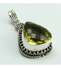 Very Beautiful Design !! Lemon Topaz 925 Sterling Silver Pendant, Weight: 8.2 g, Stone - Lemon Topaz, Size - 3.8 x 2.0 cm, Wholesale Orders Acceptable, All Pieces have 925 Stamp