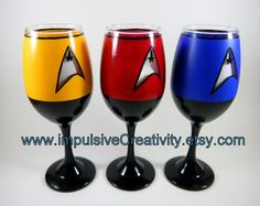 Star Trek inspired hand painted wine by ImpulsiveCreativity, $65.00