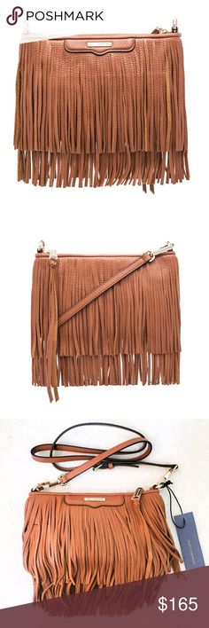 "Rebecca Minkoff Boho Fringe Crossbody Bag Reasonable offers welcome. Same or next day shipping. Brand new with tags! Retails at $195. The Finn Crossbody is the perfect companion for day to night outfits. This style is perfect for road trips, festivals, or drinks with friends! 9.5""W X 6""H X .25""D 24"" adjustable detachable shoulder strap drop Genuine leather 1 interior slip pocket Zipper closure Custom gold hardware Dust bag included Rebecca Minkoff Bags Crossbody Bags"