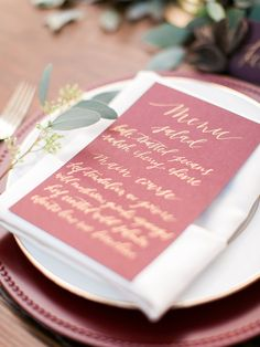 Marsala & gold tabletop, holiday table top, red and green centerpiece, leaf garland, eucalyptus runner, fall tabletop, burgundy and gold and copper, calligraphy placecard, calligraphy menu - Rachel Solomon Photography Blog   Marsala and Gold Tabletop Inspiration   http://blog.rachel-solomon.com