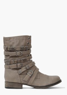 Gray/tan boots with lots of straps and buckles. Love these.