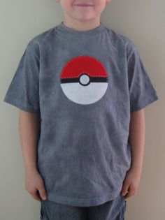 Pokeman Applique Shirt, Pokeball Shirt, Pokemon Party, Hand-Dyed, Hand-Stitched