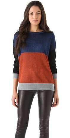 Click Image Above To Buy: Tibi Colorblock Lurex Sweater