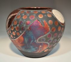 "Raku Pottery for Sale | 14.5"" Raku Pottery Bowl / Wall Piece with Hanging Wire. By John Turner ..."