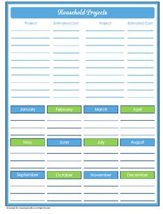 31 Days Of Home Management Binder Printables Day 20 Household Projects Planner