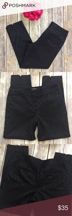 "WHBM Jacquard Slim Ankle Pants White House Black Market Slim Ankle Jacquard print Pants in black. Size 8 regular and in excellent condition with no flaws. Made of 59% cotton, 37% polyester, and 4% spandex. Approximate measurements flat and unstretched: waist 30"", inseam 27.75"". ⚓No trades or holds. I negotiate only through the offer button. Any measurements listed are approximate since I am not a seamstress. 🚭🐩T4 White House Black Market Pants Ankle & Cropped"