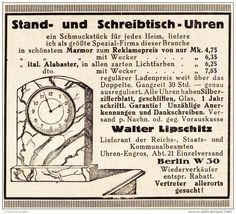 Original-Werbung/Anzeige 1925 - STAND - UND SCHREIBTISCH - UHREN / WALTER LIPSCHITZ - BERLIN - ca. 65 x 60 mm