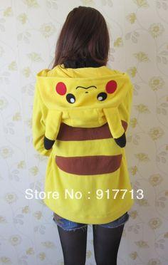Wow!!!  Free Shipping!  Japan Pokemon Pikachu Ears Face Tail Zip Hoodie Hoody Sweatshirt Costume-in Hoodies & Sweatshirts from Apparel & Accessories on Aliexpress.com