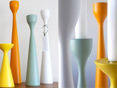 Colorful retro-Scandi inspired candle holders by Swedish designer Maria Lovisa Dahlberg for Freemover.