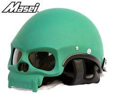 MASEI US ARMY MATT GREEN SKULL 419 MOTORCYCLE CHOPPER DOT HELMET
